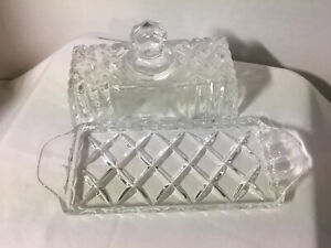 Crystal Cut Glass Butter Dish with Lid and Handles