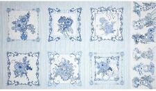 1.3 Yards Cotton Fabric - Quilting Treasures Loralie Flora Bleu Panel Border