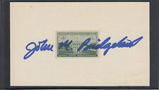 John M. Bridgeland, USA Freedom Corps Director, signed 3x5 card with 3c WH stamp