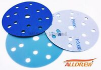 150mm Wet and Dry 6in Sanding Discs 15 Hole Hook and Loop DA Pads GRIT 40 - 3000