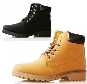 LADIES WOMENS GIRLS WALKING ANKLE LACE UP DERSET HIKING GRIP SOLE COMBAT BOOTS