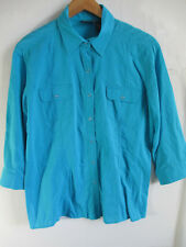 ADDICTIONS by CHICO'S womens L turquoise blouse button up down shirt 100% COTTON