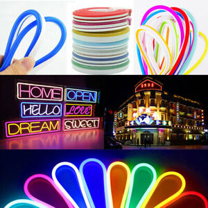 1-5M Flexible LED Strip Waterproof Sign Neon Lights IP67 Silicone Tube Bar 12V