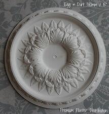 """Plaster Ceiling Rose 380mm / 15"""" Leaf Centre, Egg & Dart UK Handmade"""