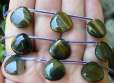 Blue Tiger Eye Beads, Teardrop shape gemstone great focal bead 18 total