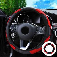 1 Pc 37~38CM Carbon Fiber Leather Car Steering Wheel Cover Non-slip Black &Red