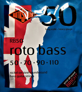 Rotosound Electric Bass Strings. Nickel Steel Roundwound. 50's Roto Bass. RB50