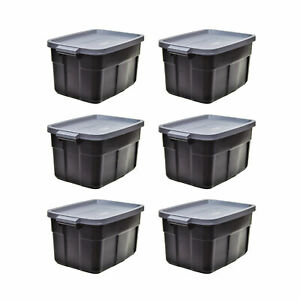 Rubbermaid Roughneck Tote 14 Gallon Storage Container, Black/Cool Gray (6 Pack)