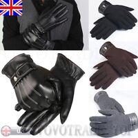 Lujo Hombre cálido de invierno cuero sintético guantes Cachemira Dedos Completos
