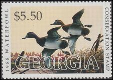 1988 Georgia State Duck Stamp Mint Never Hinged F-VF