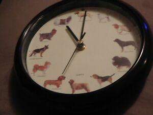 """Dog Wall Clock Sound Effects Hourly 8"""" Clock"""