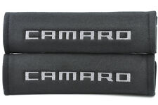 Embroidery Seat Belt Cover Soft Harness Gray on Black Pads For Chevrolet Camaro