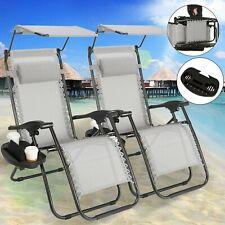 Outdoor Folding Zero Gravity Chair Lounge Beach Patio Recliner 2 pcs