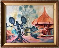 Wild Vintage 70s Abstract Amusement Park Painting Modern Art Wall Hanging Signed
