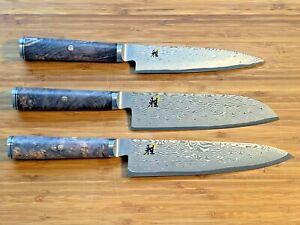 RARE SET of 3 Miyabi Black 5000MCD67 Knives by Zwilling J.A. Henckels