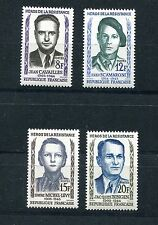 FRANCE 1958 879-882 PERFECT MNH HEROES OF THE RESISTANCE SET