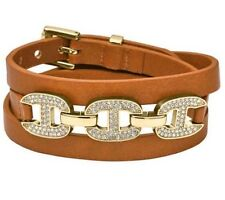 New Michael Kors Brown Double Wrap Luggage Leather Bracelet  MKJ3546710 $115