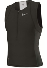 Nike Tri Singlet Swim Size M Medium Men's Sleeveless Triathlon Zipper Top Black