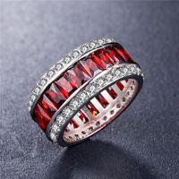 925 Silver Jewelry Gorgeous Princess Cut Garnet Women Wedding Ring Size 6-10