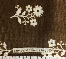 "3ydrs 11"" Long By 44"" Wide NY vtg Concord Fabric White Flower On Brown Fabric"