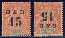 GUADELOUPE #47, 47b Mint - 15c on 50c Surcharge
