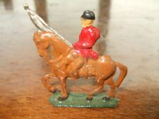 Vintage Solid Lead Military Soldier on Horse back Flag
