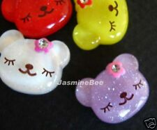 15 Teddy Bears Flat Back Bow Charms Buttons Beads MULTI