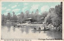 PEORIA IL 1915-30 Boating on Glen Oak Lagoon in Glen Oak Park VINTAGE ILLINOIS
