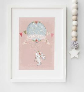 Personalised Bunny Floral Balloon Name Picture Nursery Print Gift UNFRAMED