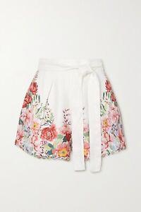 ZIMMERMANN Bellitude floral-print linen shorts Size 3 NWT!