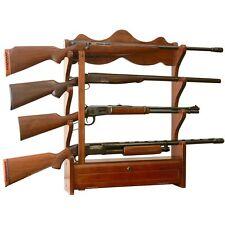 American Furniture Classics 4 Gun Wall Rack Locking Storage In Brown Finish 840