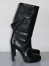 ** HAIDER ACKERMANN ** Runway Black Leather Fold Snap Flap Boots w/ Zip Back 40