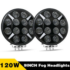Pair 9inch 120W LED Work Light Round Spot Fog Headlight Driving Offroad DRL Lamp