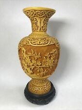 More details for vintage chinese resin vase on stand decorated with flowers seal mark to base