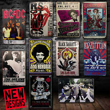 More details for top quality distressed retro tin metal novelty rock band music signs man cave