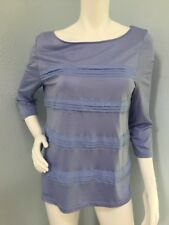 Ann Taylor LOFT LARGE Textured Striped Semi-Sheer Stretchy 3/4 Sleeves Coral Top