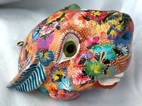 TIGER Alebrije MASK Head Glitter Hand Painted Oaxacan Wood Carving Oaxaca Mexico