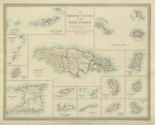 BRITISH WEST INDIES. Jamaica Antilles Virgin Cayman Islands. SDUK 1874 old map