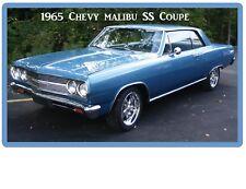 1965 Chevy Malibu SS Coupe Blue Auto Refrigerator / Tool Box Magnet