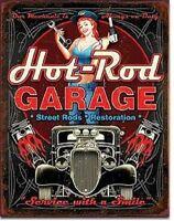 Hot Rod Garage Rat Rods Gas Vintage Retro Wall Decor Pinup Metal Tin Sign New