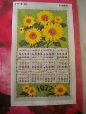 New listing Vintage 1972 Linen Kitchen Sunflowers Tea Towel Hanging Calendar New in Package