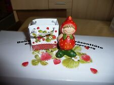 9 Dekofiguren, Erdbeermädchen  in Geschenktüte 4 verschiedene Motive