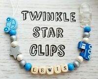Personalised Wooden Dummy Clip Car Train Star Boys Blue Grey White Boy Plastic