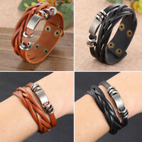 Men's Braided Leather Stainless Steel Cuff Bangle Bracelet Wristband Accessories