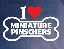 I LOVE/HEART MINIATURE PINSCHERS Bone Car/Window Sticker Ideal for Dog Owners