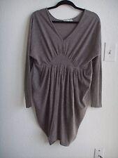 SOO Korea Gathered Empire Waist Dolman Sleeve Asymmetrical Dress Taupe S 4 6 8 M
