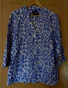 Ladies Maine from Debenhams long blue & white 100% cotton blouse top size 18