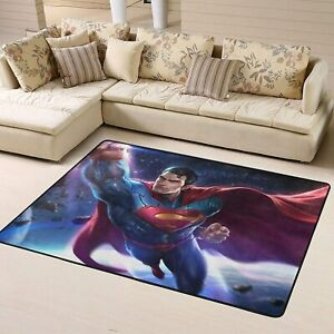 Superman Area Rug Living Room Bedroom Soft Flannel Floor Mat Carpet Kids Gift
