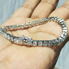 """7"""" Certified 10.00 Ct DEF Colorless Moissanite Bracelet in 14K White Gold Finish"""