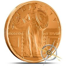 1 OZ .999 Fine Copper Standing Liberty - Bullion Round - AVDP - Coin